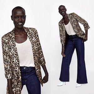 FINAL DROP ⬇️ Zara Satin Leopard Print Cuffed Blazer